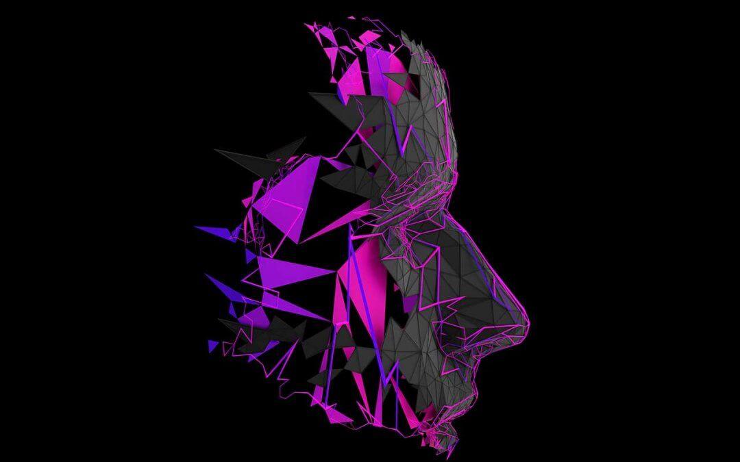 3D Projection Mapping auf einen polygonale Kopfskulptur