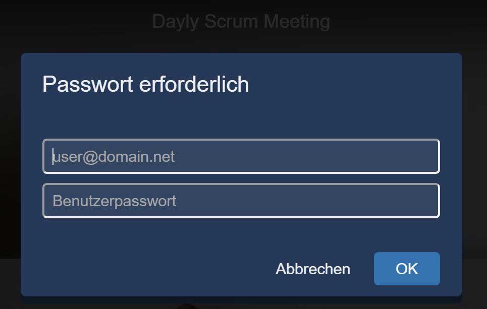 Benutzernaamen und Passwort eingeben