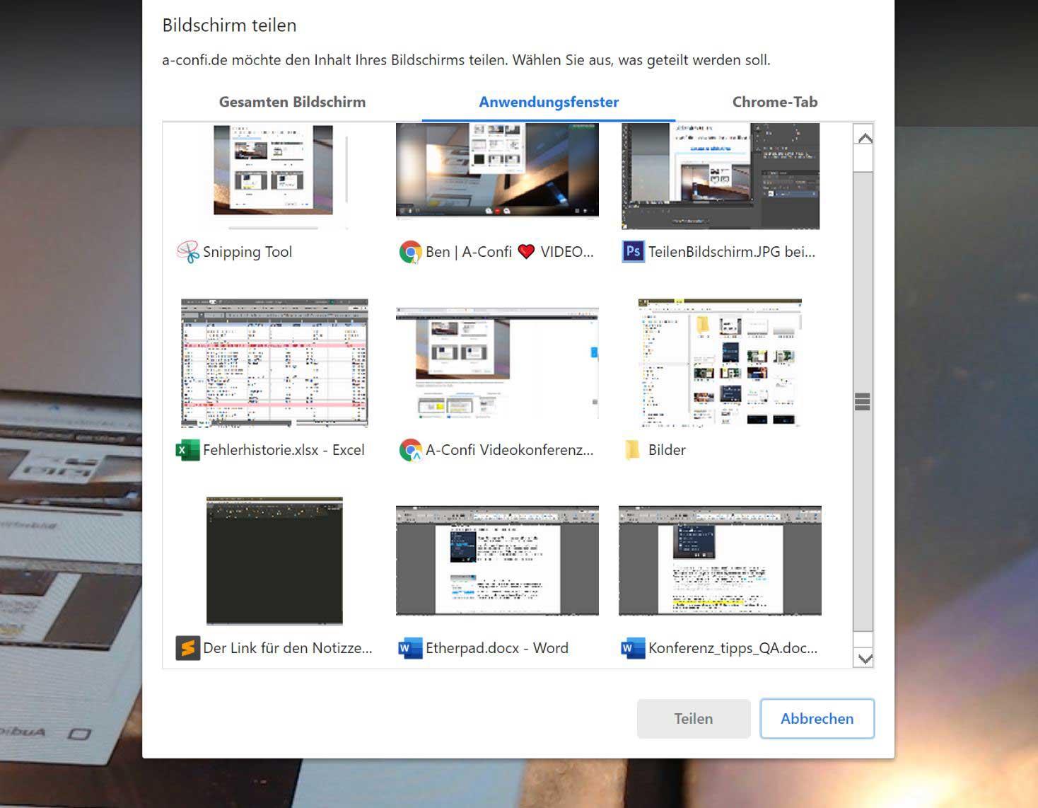 Anwendungsfenster freigeben: Freigabe einer geöffneten Anwendung (Fenster von Programmen wie z.B. PowerPoint, Photoshop etc. etc.). Für eine gute Sichbarkeit empfiehlt es sich, das ausgewählte Anwendungsfenster je nach Wunsch zu skalieren.
