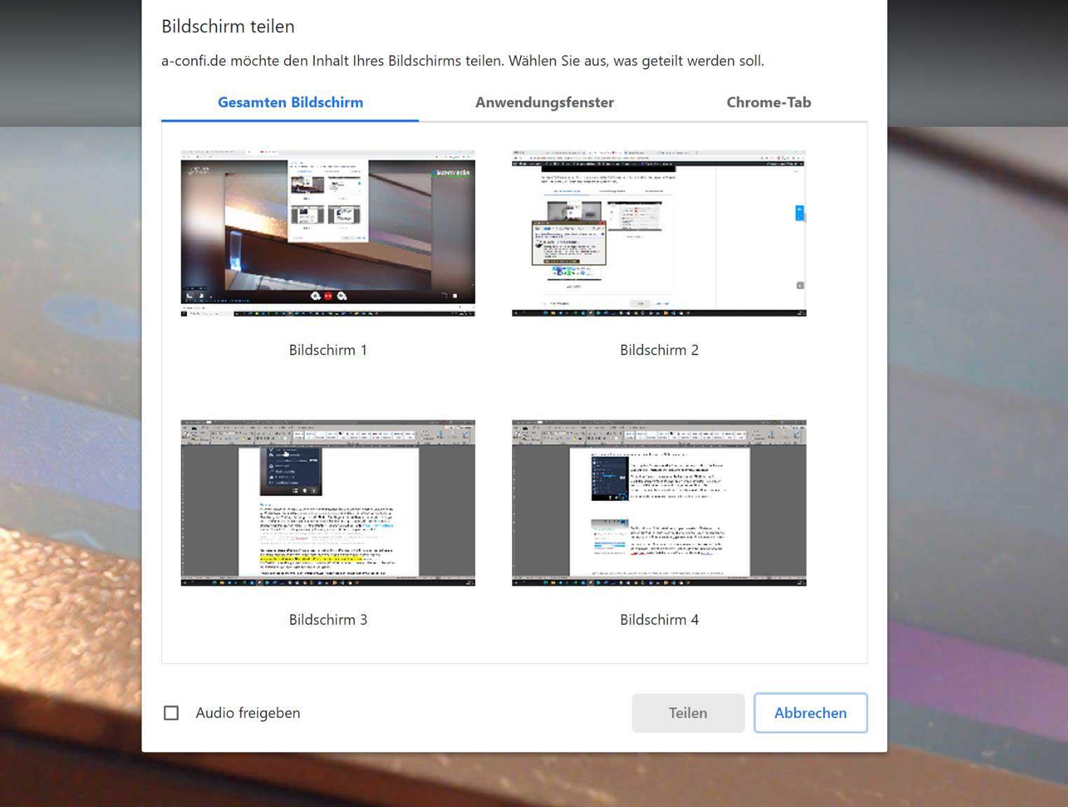 Gesamten Bildschirm freigeben: Hiermit können Sie die Anzeige eines der angeschlossenen Monitore freigeben, bei Bedarf auch mit Ton / Audio.
